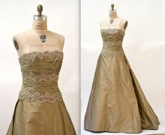 Vintage Evening Gown Size Medium Metallic Silk By Chris Kole Couture// 90s Vintage Dress Evening Gown Gold Silk Ball Gown Strapless Dress by Hookedonhoney on Etsy