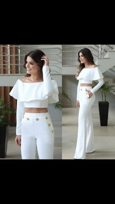 Women Floral Ruffle Hot Sexy Outfit Two-piece Off Shoulder Crop Top & Pants Set White Outfits, Casual Outfits, Casual Dresses, Vetement Fashion, White Fashion, Couture Fashion, Ideias Fashion, Fashion Dresses, Fashion Looks