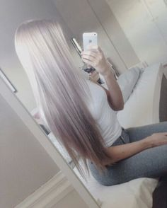 Long silver hair, platinum blonde hair, white hair, ash blonde hair.. summer hair color, silver hair color