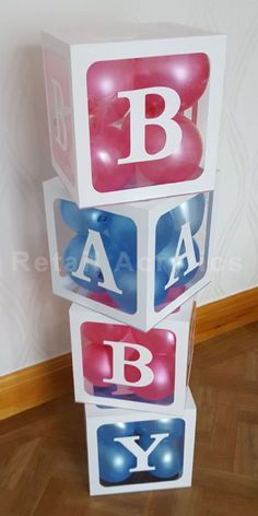 BABY Blocks Set manufactured from clear acrylic with a white acrylic frame and letter on each face freestanding fillable six sided cubes Deco Baby Shower, Shower Bebe, Baby Shower Themes, Baby Boy Shower, Baby Shower Frame, Baby Shower Photo Props, Shower Party, Shower Ideas, Pregnancy Gender Reveal