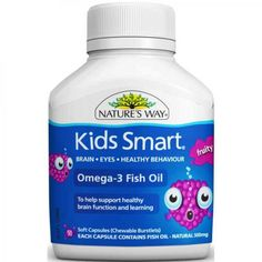 Vitamin Anak - Nature's Way Kids Smart Omega-3 Fish Oil Fruity Chewable Burstlets 50 Capsules