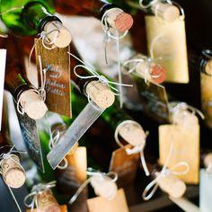 Wine Bottle Escort Card Display // Dan Stewart Photography
