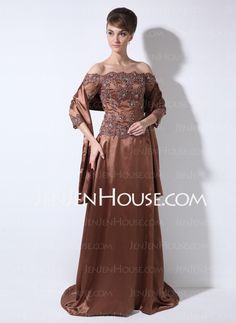 Mother of the Bride Dresses - $176.59 - A-Line/Princess Off-the-Shoulder Sweep Train Charmeuse Mother of the Bride Dresses With Lace  Beading (008006171) http://jenjenhouse.com/A-Line-Princess-Off-The-Shoulder-Sweep-Train-Charmeuse-Mother-Of-The-Bride-Dresses-With-Lace-Beading-008006171-g6171