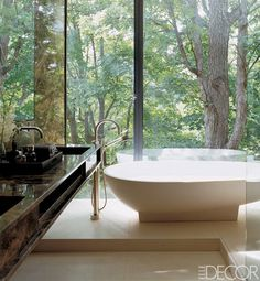 floor to ceiling glass walls in the bathroom...yes!