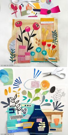 Sketchbook is a Modern-Day Homage to Matisse Julie Hamilton's collage sketchbook is a modern-day homage to Matisse.Julie Hamilton's collage sketchbook is a modern-day homage to Matisse. Paper Collage Art, Paper Art, Paper Crafts, Cut Paper, Kids Collage, Creation Art, Atelier D Art, Painted Paper, Kirigami