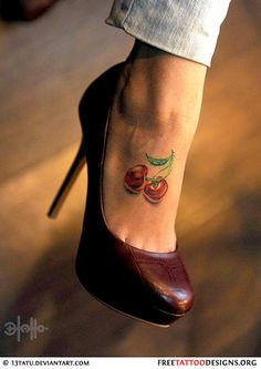 Cherry foot tattoo