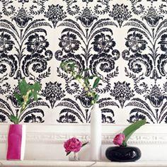 damask, wallpaper, black, white, roses, pink