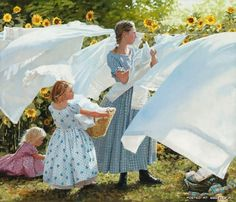 the smell of clothes hung on a clothesline to dry brings back so many memories.  by Heide Presse