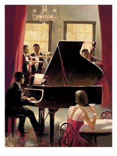 Piano Jazz Giclee Print by Brent Heighton at Art.com