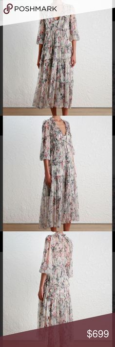 Zimmermann 17FW Jasper Floral Ruffle Dress Jasper Floral Ruffle Sheer midi dress with panelled bodice and gathered tier skirt. Ruffles with picot edge finish throughout neckline, bodice, shoulders and skirt. Shoestring neck tie with tassel ends, long blouson sleeves with elasticated cuffs. Side invisible zip closure, comes with a separate jersey slip in matching print. Main: 100% silk. Dry clean only. Cool iron. 0=XS, 1=S, 2=M. Zimmermann Dresses Maxi