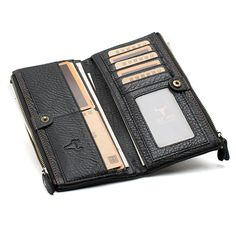 46.98$  Watch now - http://ali6cm.worldwells.pw/go.php?t=32622385188 - Men Genuine Leather Long Zipper Wallet Business Card Holder Pocket Handbag 2016 New 46.98$