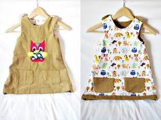 Sukienka dwustronna dla małych elegantek, które lubią zmieniać często stroje lub dla małych łobuziaków, które często brudzą swoje ubranka. Wtedy wystarczy przełożyć ją na drugą stronę.  Sztuka dla Sztuki :: sukienka daria :: Brązowa sowa