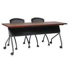 """OSP Furniture Training Table Leg Finish: Black, Top Finish: Maple, Size: 72"""" W X 24"""" D"""