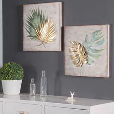 Wall Decor Set, Metal Wall Decor, Wall Art Sets, Art Decor, Room Decor, Leaf Wall Art, Metal Tree Wall Art, Leaf Art, Green Wall Art