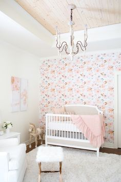 Flower watercolor wallpaper, bright whites, light wood plank ceiling