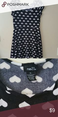 Rue 21 black with upside down hearts skater dress Cute stretchy knit skater dress with upside down hearts.  Fun and flirty in excellent used condition. Rue21 Dresses