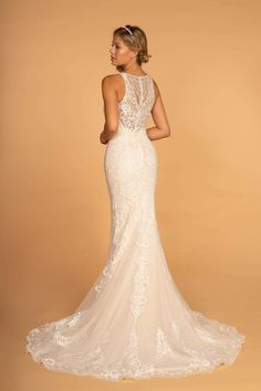 GLS by Gloria - GL2597 Embellished Lace Halter Trumpet Gown – Couture Candy Beaded Wedding Gowns, Beaded Gown, White Wedding Dresses, Bridal Gowns, Sheath Wedding Gown, Dress Wedding, Illusion Neckline Wedding Dress, Illusion Dress, Trumpet Gown