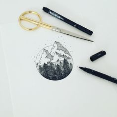 "dorotheethomson: ""Mountain & Pines #graphicbyd #minimalist #tattoodesign…"