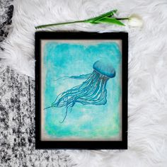 This printable jellyfish art is a lovely touch for any beach decor or mermaid wall art. Just download and print.  #jellyfish #beachdecor #printableart #oceanthemed Real Life Mermaids, Jellyfish Art, Mermaid Wall Art, Mermaid Invitations, Printable Art, Printables, Sea Art, Decorating On A Budget, Sea Creatures