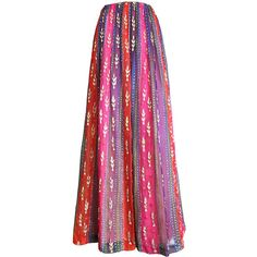 Preowned 1970's Givenchy Haute Couture Embellished Silk Skirt (2.560 BRL) ❤ liked on Polyvore featuring skirts, saias, pink, striped sequin skirt, silk skirt, sheer skirt, striped skirt and watercolor skirt