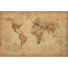 World Map (Antique) Art Poster