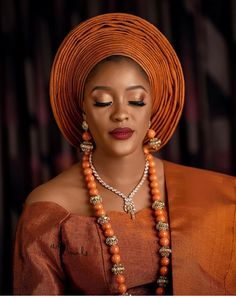 Orange is the latest trending colour for Nigerian traditional brides African Wedding Attire, African Attire, African Beauty, African Fashion, Burnt Orange Weddings, African Goddess, Traditional Wedding Attire, Yoruba Wedding, Lace Dress Styles