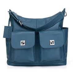 Boowiggie Ella Duo leather nappy bag in limited edition powder blue. #Boowiggie #nappybag #babybag #maternity #bump #pregnancy #babyshower #style