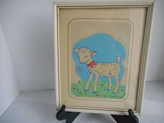 """Baby's Nursery """"Glow-in-the-Dark"""" Framed Wall Picture by Citroen, 1940 Vintage"""