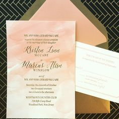 The peach watercolor ink used for the background on this Tag and Company wedding invitation, combined with gold foil print and gold envelopes, this is a delicious combination. Customize yours with Paper Passionista. Wedding Invitation Wording Templates, Wedding Invitation Images, Custom Wedding Invitations, Invitation Design, Wedding Stationery, Watercolor Wedding Invitations, Wedding Place Cards, Seattle Wedding, Wedding Announcements
