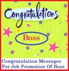Congratulation Messages : Boss - Job Promotion