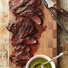 Grilled Flat Iron Steaks with Chimichurri From Better Homes and Gardens, ideas and improvement projects for your home and garden plus recipes and entertaining ideas.
