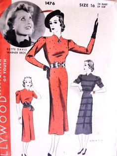 RARE 1930s BETTE DAVIS Slim Dress Pattern HOLLYWOOD 1476 Sew Simple Frock Includes Fringe Trimmed Version Bust 34 Vintage Sewing Pattern FACTORY FOLDED