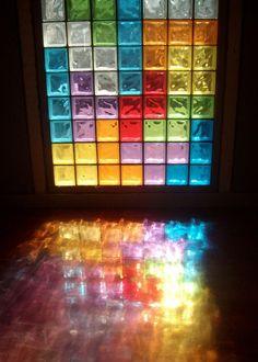 coloredmondays:  tetris window reflection