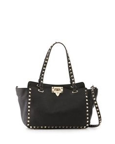 Rockstud Grain Small Tote Bag, Black by Valentino at Neiman Marcus.
