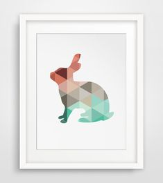 Mint & Coral Geometric Rabbit Printable Art === Print out this modern wall artwork from your home computer or local print shop to