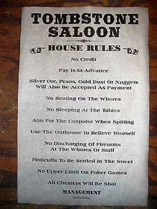 """Image detail for -Old West Saloon Tombstone House Rules Poster 11""""x17"""" 418 