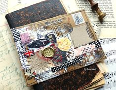 My latest work I am sharing with you are two kraft envelopes decorated in vintage look. I created a mixed media collage. Journal Covers, Book Journal, Journal Ideas, Journals, November Challenge, Christmas Cards 2018, Tea Bag Art, Craft Punches, Wax Stamp