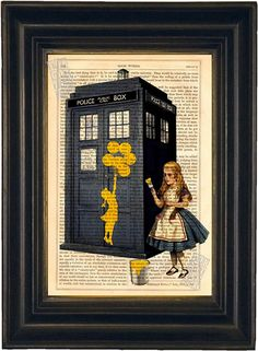 Banksy by Alice on Dr Who Tardis Phone Box Print on upcycled