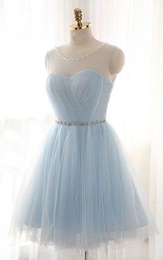 Sky Blue Sleeveless Mini Beading Pleats Lace Up A Line hort Homecoming Dress