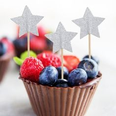 Silver Gold Stars Cupcake Topper Toothpicks
