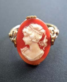 Cameo Gold-Filled Ring 1/20 10K Red Shell by RenaissanceFair