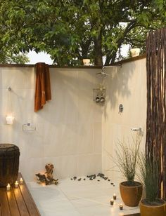 I need this outdoor shower next to our hot tub....yes, please!!