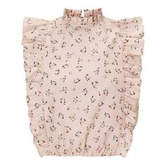 Ditsy Print Ruffle Crop Top (140 AED) ❤ liked on Polyvore featuring tops, pink crop top, frill crop top, flounce tops, ruffle crop top and frilly tops