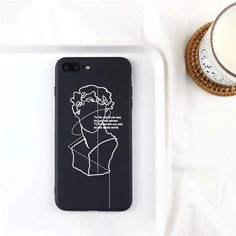 LACK Abstract Art Lines David Print Phone Case For iphone 7 Case For iphone 7 Plus Cases Fashion Classics Soft TPU Couples Cover - Half-wrapped Case - Cheap Phone Cases, Iphone 7 Plus Cases, Iphone7 Case, Art Case, David, Black Iphone 7, Aesthetic Phone Case, Coque Iphone, Phone Cases