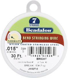 Stringing Wire 7-Strand .015 (.38mm) Diameter 30ft/Pkg-Bright
