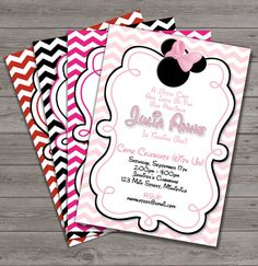 HUGE SELECTION Pink Chevron Minnie Mouse Invitation - Red Chevron Minnie Mouse Birthday Invitations - Pink Zebra Minnie Mouse Invitation on Etsy, $10.00