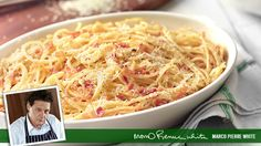 Spaghetti carbonara recipe. This is a variety on the classic spaghetti carbonara that requires that you add the ingredients in stages. Serves up to 3.