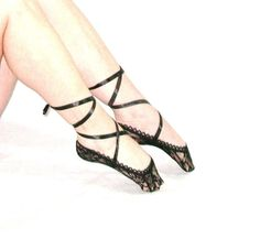 Lace Ballet Peep Socks Black Satin Ribbon Lace Up The Leg Floral Liner Socks Boho No Show Looks Great With Flats & Heels!