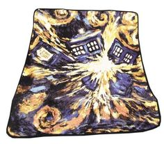 Doctor Who Dr Exploding TARDIS Police Box Opens Throw Blanket Fleece