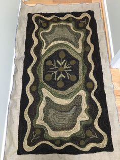 No automatic alt text available. Rug Hooking Patterns, Rug Patterns, Hook Punch, Hand Hooked Rugs, Lord Is My Shepherd, Punch Needle, Muted Colors, Simple Designs, Rag Rugs